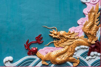 Fresque dans un temple bouddhiste de Chengdu, dans la province du Sichuan