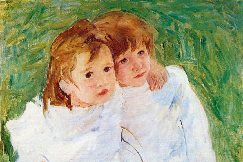 Painting (by Mary Cassatt) of Two Baby sisters hug each other, 1870.