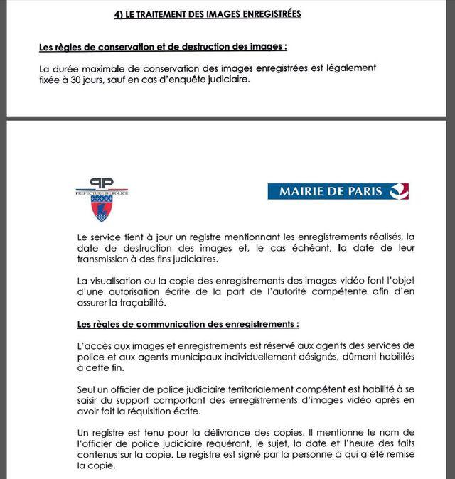 """Extrait de la """"Charte d'éthique de la vidéoprotection pour Paris"""""""