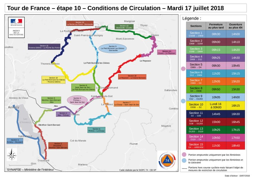 Les routes bloquées pour la 10e étape du Tour de France.