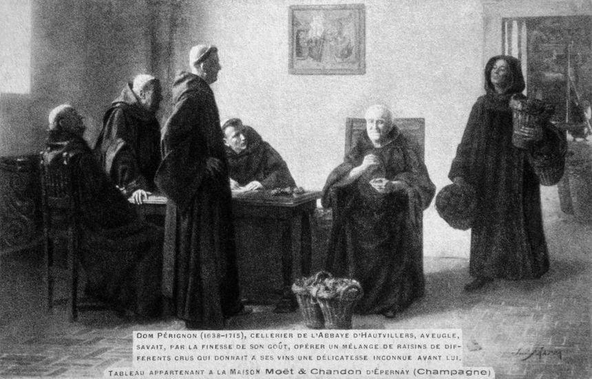 Reproduction d'un tableau représentant le moine Dom Pérignon sélectionnant le raisin pour le vin.