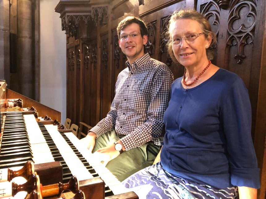 Thomas Kientz et Béatrice Bergeret, de l'association des Amis de l'orgue Merklin