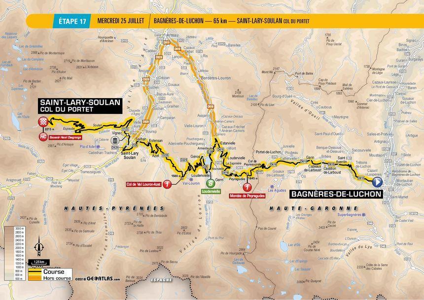 Tour de France : le tracé de la 17e étape entre Bagnères-de-Luchon et St-Lary-Soulan