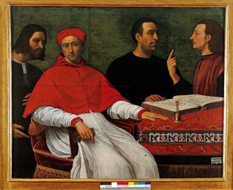 Cesar Borgia (Cesare Borgia il Valentino) en discussion avec Niccolo di Bernardo dei Machiavelli (Nicolas Machiavel, 1469-1527) (à droite, vêtu rouge) devant le cardinal Pedro Loys Borgia et le secrétaire Don Micheletto Corella.