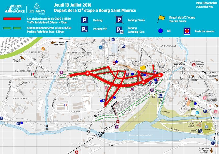 Plan de circulation à Bourg-Saint-Maurice pour le jeudi.