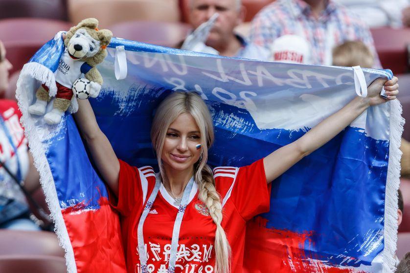 Une supportrice russe le 1er juillet 2018 à Moscou avant le match Russie - Espagne