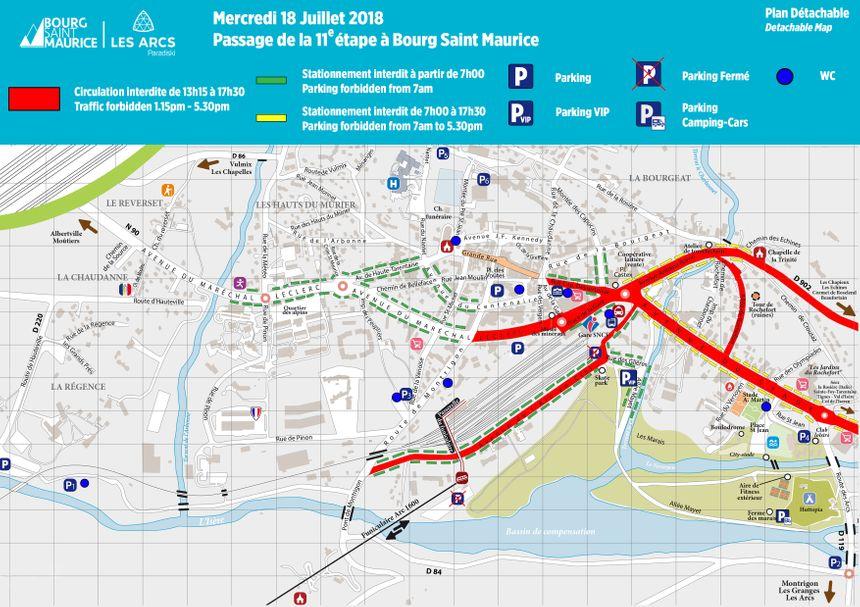 Plan de circulation à Bourg-Saint-Maurice pour le mercredi.