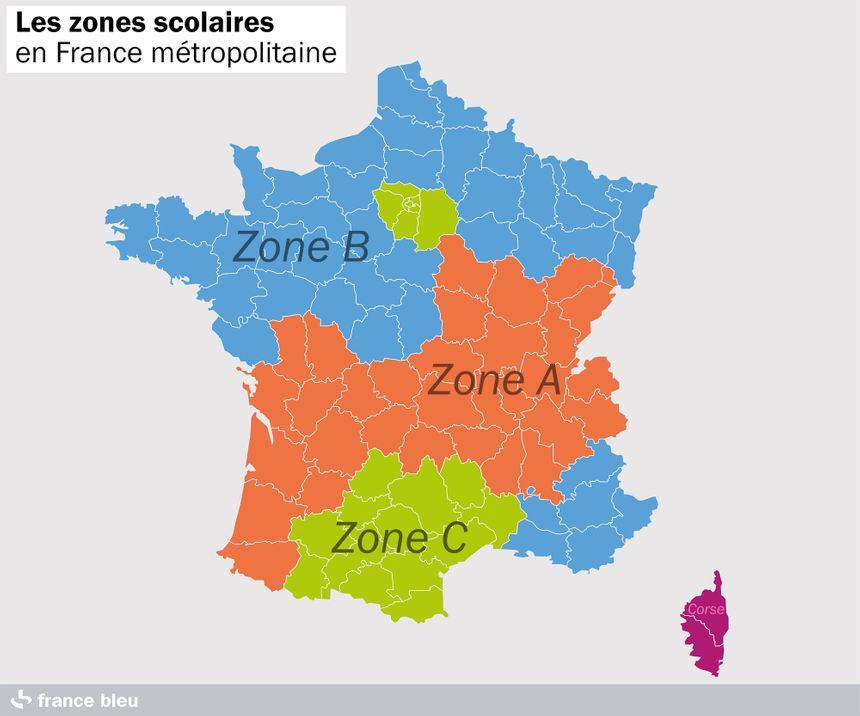 Les zones scolaires en France métropolitaine