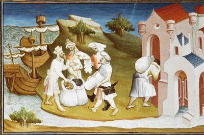 """Transport et déchargement d'épices à l'Est. Miniature du """"Livre des merveilles du monde"""" de Marco Polo et Rustichello, France, XVe siècle."""