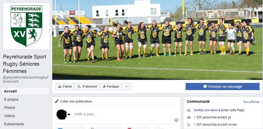 Capture d'écran de la page Facebook des joueuses de Peyrehorade.