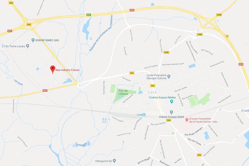 L'accident s'est produit sur le site d'Ikea situé dans la Zone industrielle Tertre Landry de Lure (capture d'écran Google Maps)