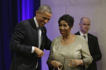 Barack Obama accueille Aretha Franklin à Washington, le 27 février 2015