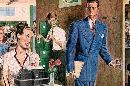 La vie de bureau - illustration américaine de 1946