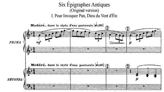 Claude Debussy : Six Épigraphes antiques (1914-15 ) - Éditeur Durand & Cie (1915)