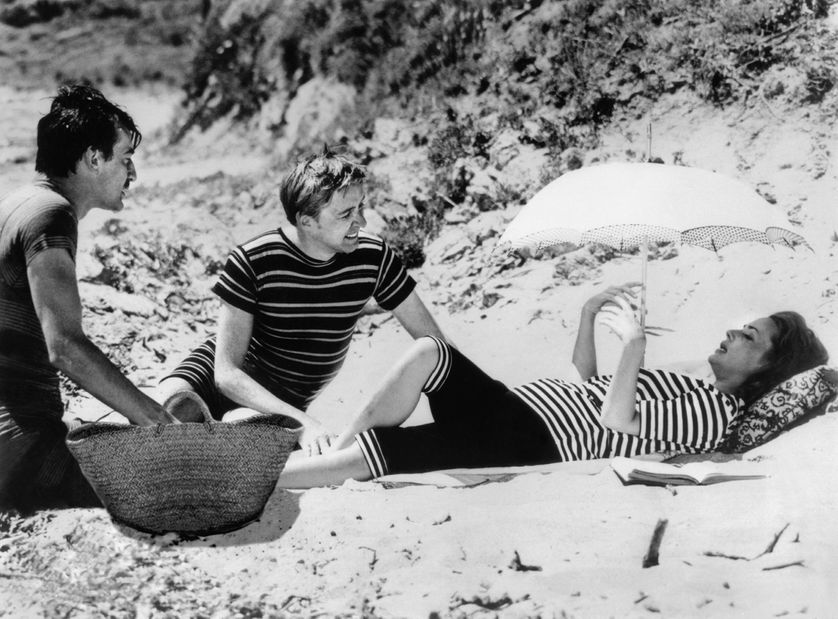 """Henri Serre, Oskar Werner et Jeanne Moreau dans le film """"Jules et Jim"""" de François Truffaut"""