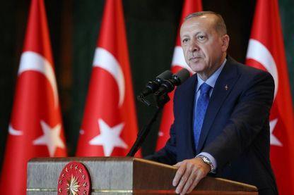 Erdogan lors d'une conférence à Ankara le 13 août 2018