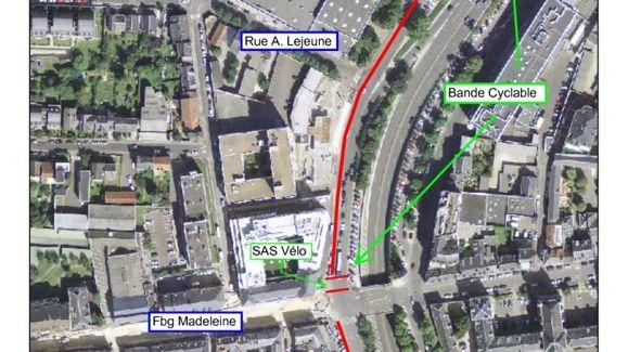 Exemple de l'itinéraire cyclable qui sera aménagé sur les mails : ici, au niveau du boulevard Jean Jaurès