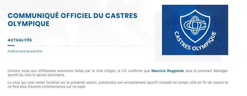 Communiqué du Castres Olympique, juste après.