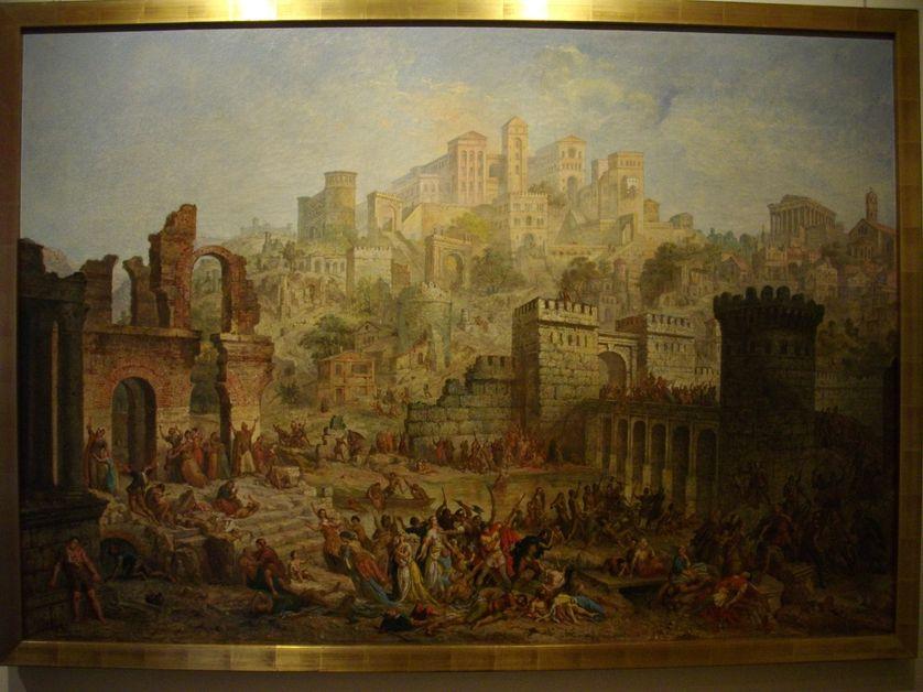 Tableau d'Auguste Migette (1802-1884), Massacre de Juifs à Metz pendant la Première croisade. Conservé aux Musées de la Cour d'or