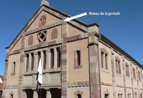 Synagogue de Dambach avec indication du lieu de la Gueniza