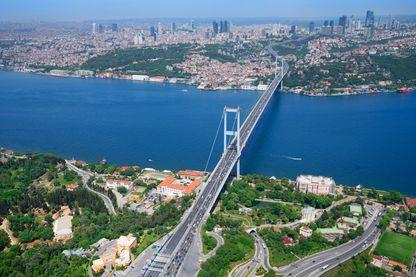 Photo aérienne du pont du Bosphore à Istanbul