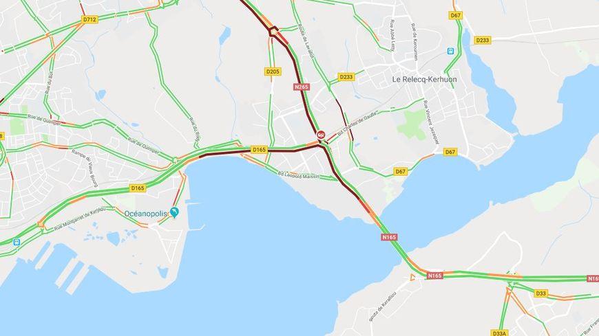 La Circulation Difficile Sur Le Pont De L Iroise Et En