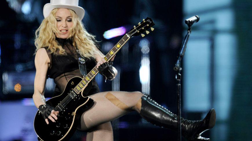 Madonna en concert à l'Olympic stadium de Berlin le 28 août 2008.