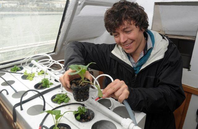 """L'ingénieur français Corentin de Chatelperron présente un système hydroponique """"low tech"""" pour faire pousser des graines sans terre à bord de la Nomade des mers…"""