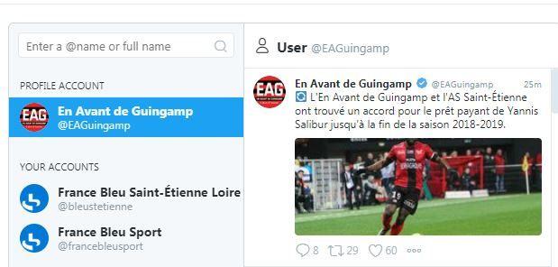 Le compte twitter de Guingamp confirme le transfert