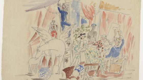 Pablo Picasso, Projet pour le rideau de scène du ballet Parade (Musée national Picasso-Paris)