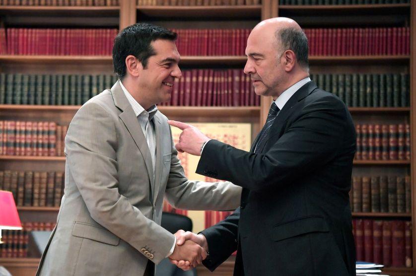 Rencontre entre le Commissaire européen, Pierre Moscovici, le 3 juillet 2018 et le Premier ministre grec, Alexis Tsipras, le 3 juillet 2018