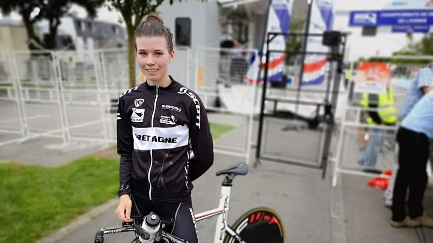Marie Le Net, aux championnats de France de l'avenir de cyclisme sur route 2018, à Plougastel-Daoulas