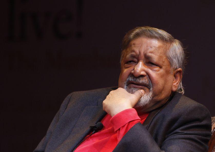 """V. S. Naipaul, ou """"Sir Vidia"""" depuis qu'il avait été anobli par la reine, avait obtenu le 100e prix Nobel de littérature. Ici à Bombay, en octobre 2012"""