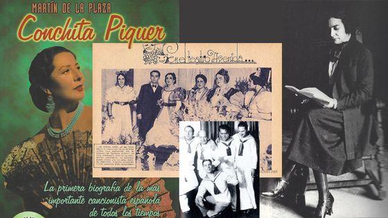 Couverture de la biographie de Conchita Piquer © Alianza Edit. / Lorca et Lola Membrives à la première de Noces de Sang à Buenos Aires (1937) / Pablo Neruda en marin / Margarita Xirgu