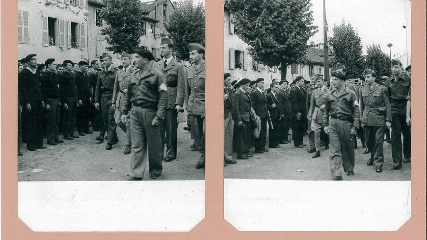 Les troupes FFI défilent dans Dax avec à leur tête Léon des Landes, chef de la Résistance landaise