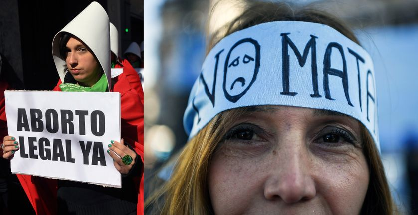 A gauche : manifestation à Buenos Aires le 1er août 2018 en faveur du projet de loi entériné en juin par les députés. A dte : manifestation contre le texte, toujours à Buenos Aires, à cette même date
