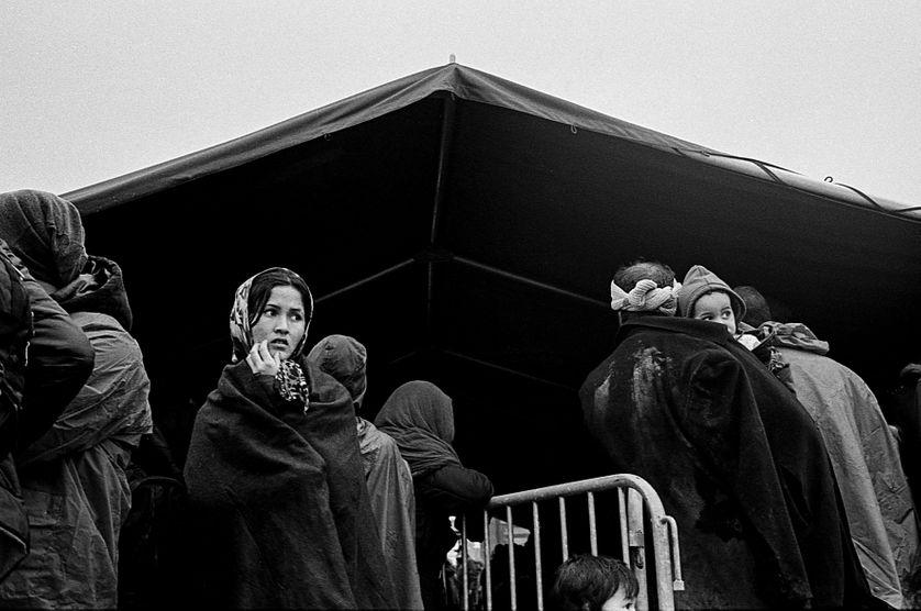 Camp de transit d'Opatovac en Croatie, à la frontière avec la Serbie. Automne 2015