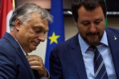 Matteo Salvini et Viktor Orban lors d'une conférence de presse à Milan en août 2018