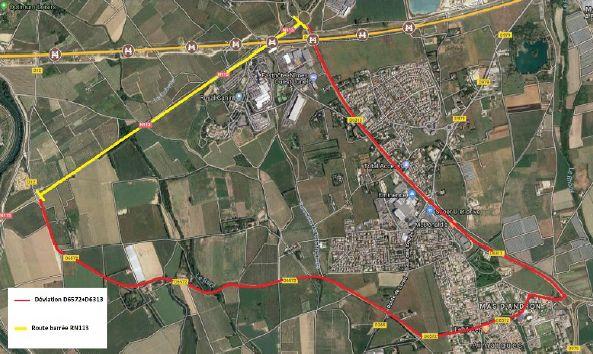En jaune, la portion de route barrée sur la RN113