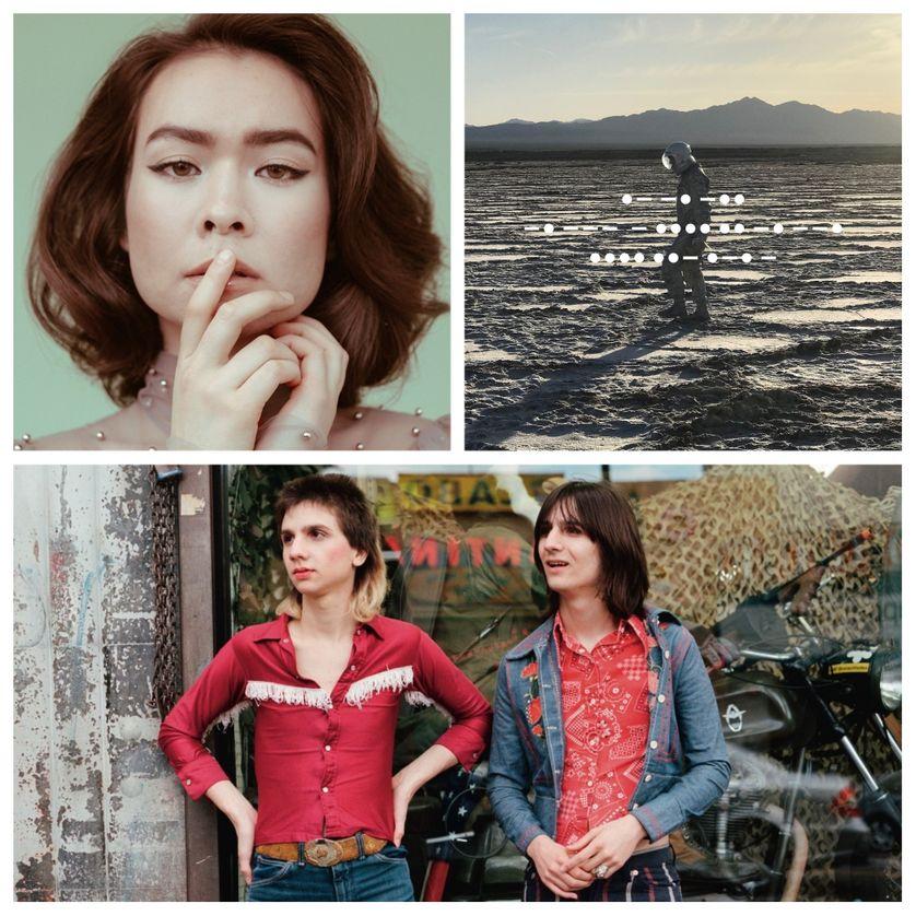 Légende : en haut à gauche : Mitski (© Savanna Ruedy), en haut à droite : l'album de Spiritualized et en bas : The Lemon Twigs (© Autumn de Wilde)