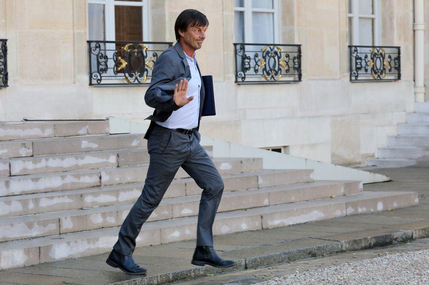 Nicolas Hulot dans la cour de l'Elysée le 14 septembre 2017
