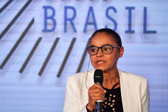 Marina Silva, candidate à la présidence brésilienne pour le parti REDE, s'exprime lors d'un forum technologique à Sao Paulo, le 7 août 2018.