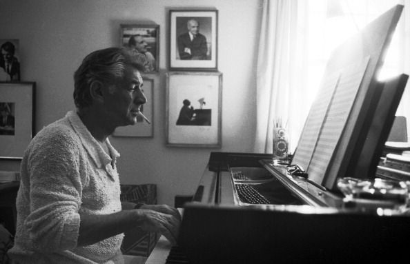 Bernstein At The Piano American composer Leonard Bernstein (1918 - 1990) composes at the piano in his home, Fairfield, Connecticut, 1968