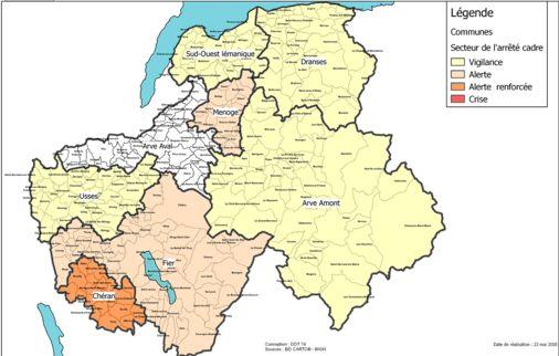 La carte de la sécheresse en Haute-Savoie