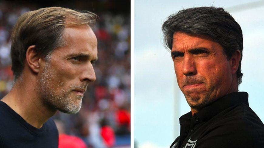 L'entraîneur du PSG, Thomas Tuchel (à gauche) et celui du Stade de Reims, David Guion (à droite)