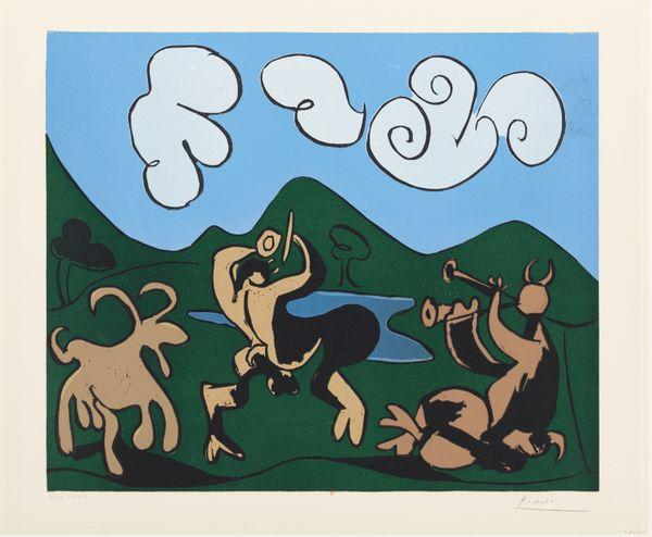 Pablo Picasso, Faunes et chèvres, 1959 linogravure en couleurs BnF, Estampes et photographie