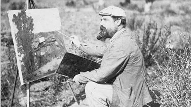 Photographie d'Etienne Terrus sur le motif, en 1905