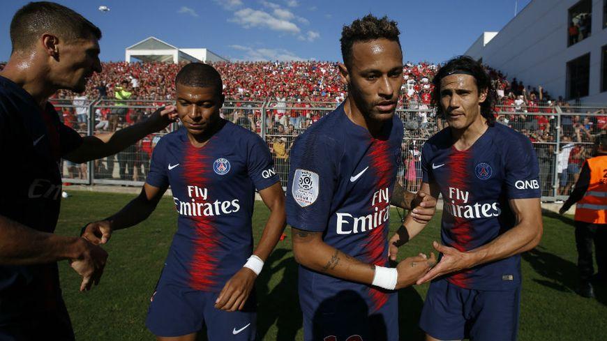 Mbappé, Neymar et Cavani (de gauche à droite avec Meunier) seront sur la pelouse de l'Allianz Riviera samedi