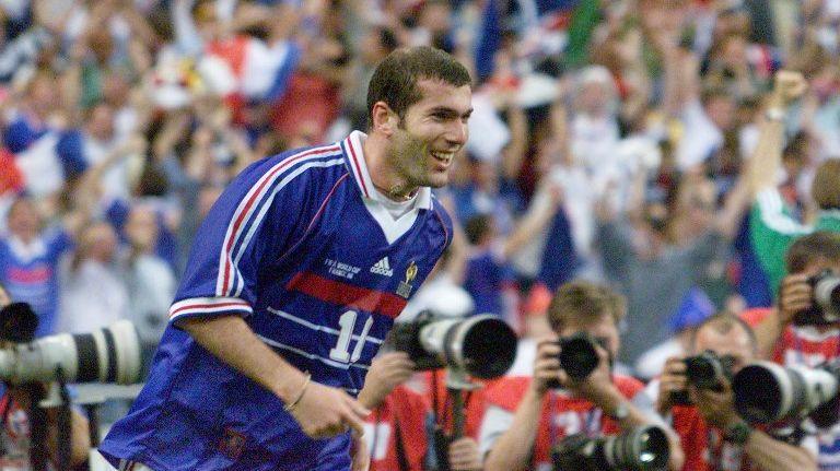 Zidane célébrant son deuxième but face au Brésil en finale du Mondial 98