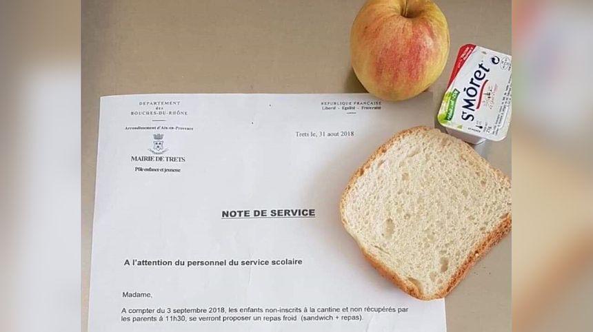 L'ordre de servir un repas froid aux enfants non inscrits à la cantine est venu de la municipalité de Trets quelques jours avant la rentrée scolaire